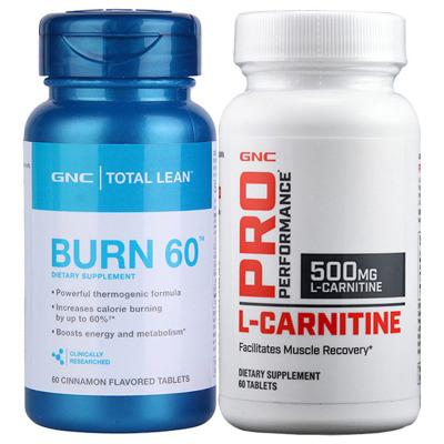 美国进口 健安喜(GNC) 加强左旋肉碱500mg60粒+瓜拉纳burn60 两瓶装组合 男女通用