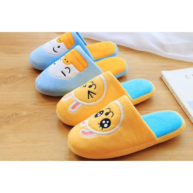 秋冬季可爱卡通卡考女士家居拖鞋室内地板棉拖鞋蓝色鸭子棉拖鞋均码