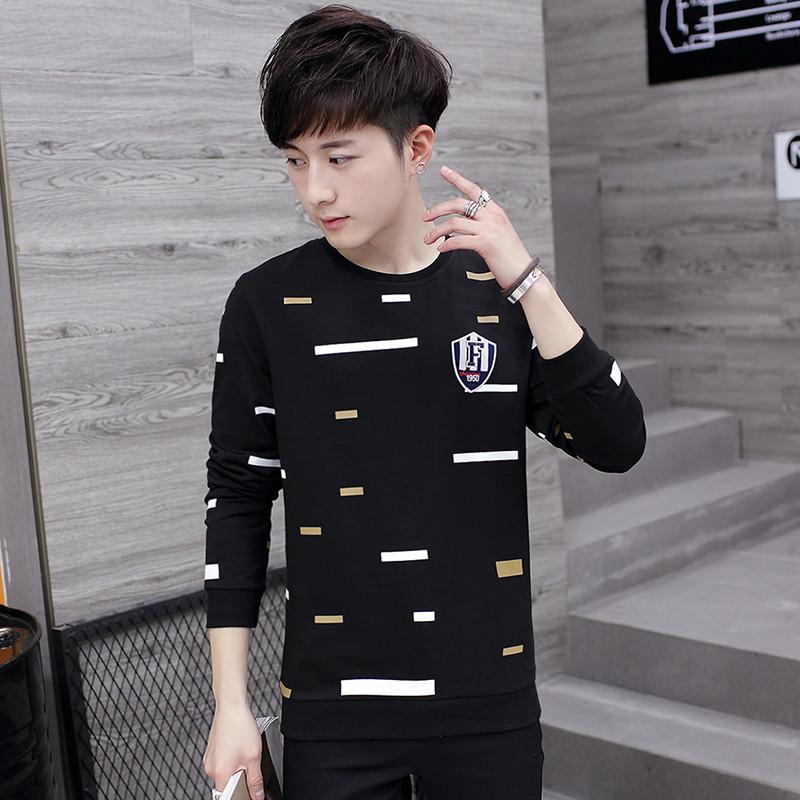 新款秋季长袖t恤男秋装韩版潮流衣服男士小衫青少年男装打底学生秋衣
