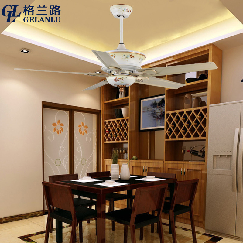 格兰路 新中式无灯装饰吊扇灯 大风力直流变频餐厅家用电风扇灯扇不带图片