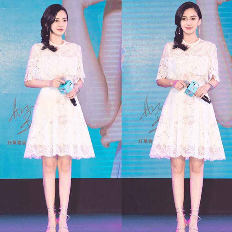 2017夏季新款杨颖baby明星同款小清新白色蕾丝连衣裙气质仙女裙子l5