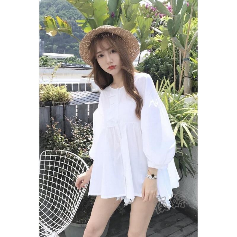 秋季新款韩风小清新木耳边娃娃衫白色长袖外套韩版l5
