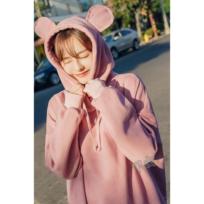 2018秋季新款韩版宽松可爱猫耳朵加绒加厚连帽套头卫衣女l5