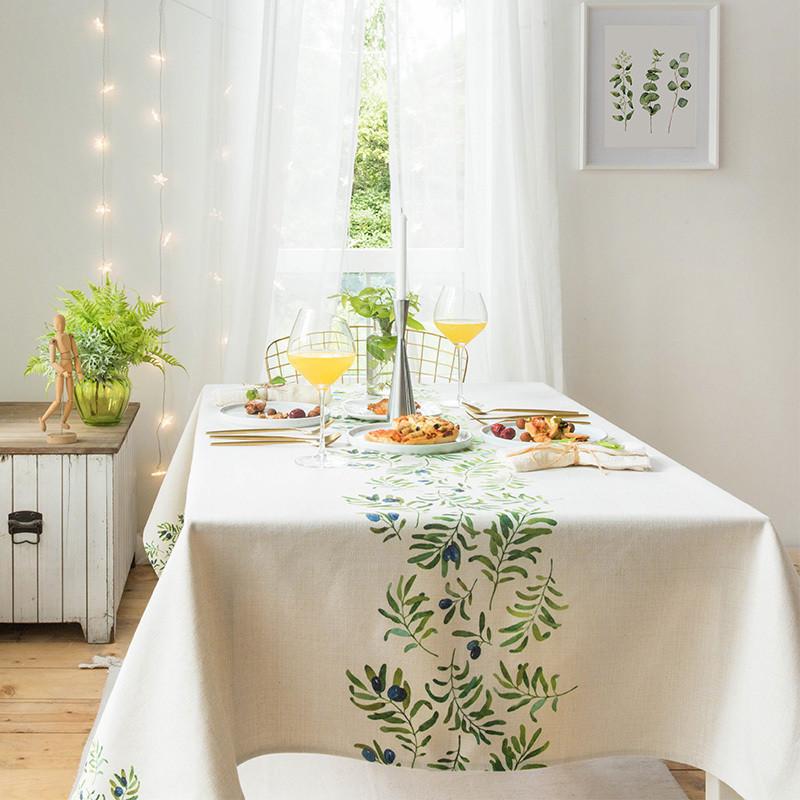 北欧圆桌布布艺棉麻小清新文艺餐桌布风正长方形茶几垫台布