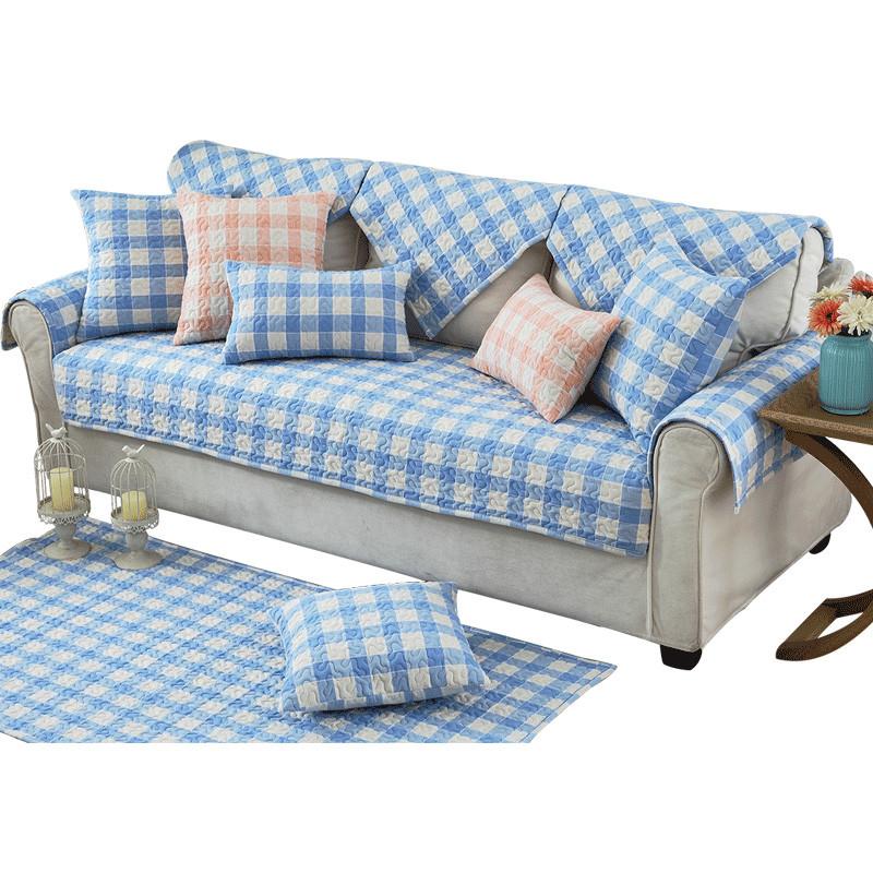 蓝色全棉水洗沙发垫布艺田园格子防滑简约现代四季客厅沙发巾定做图片