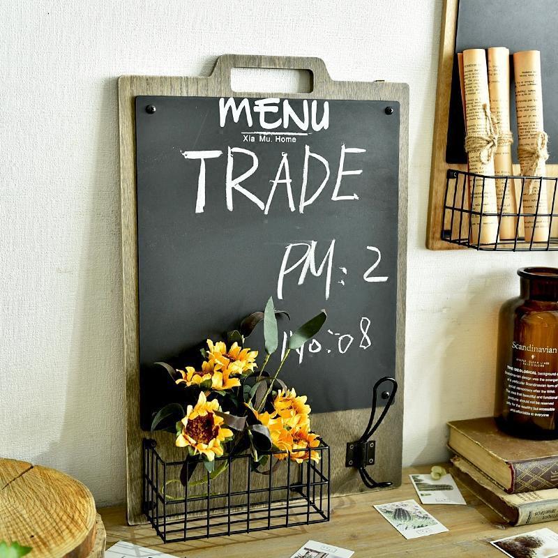 简约乡村北欧风餐厅墙面装饰留言黑板置物篮门口钥匙架壁挂壁饰
