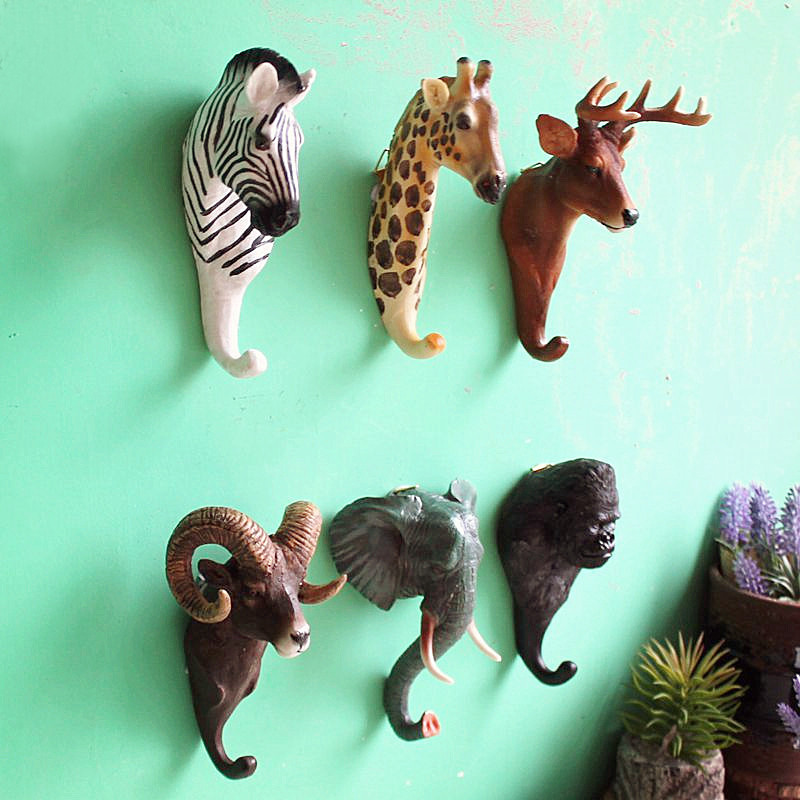 美式复古咖啡馆酒吧店铺墙面立体动物壁挂鹿头个性创意装饰挂钩