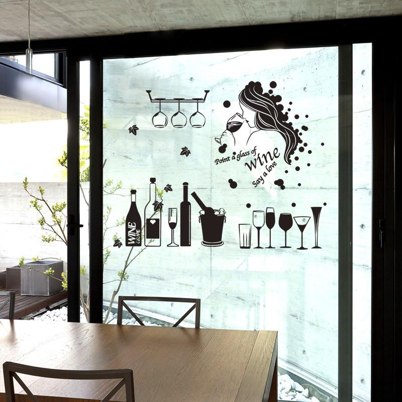 酒吧厨房客厅餐厅墙壁装饰品店铺橱窗贴纸玻璃墙贴画女郎酒杯酒瓶