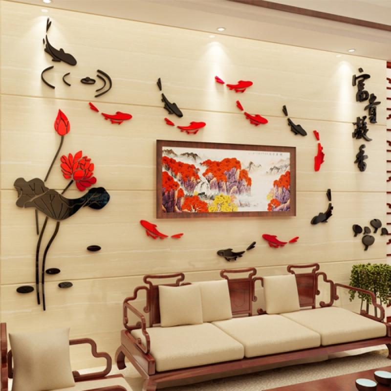 富贵凝香3d立体墙贴亚克力墙贴画客厅电视沙发背景墙贴纸墙面装饰