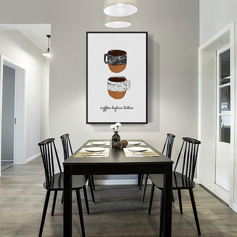餐厅装饰画北欧风格饭厅厨房客厅挂画现代简约小清新三联壁画组合