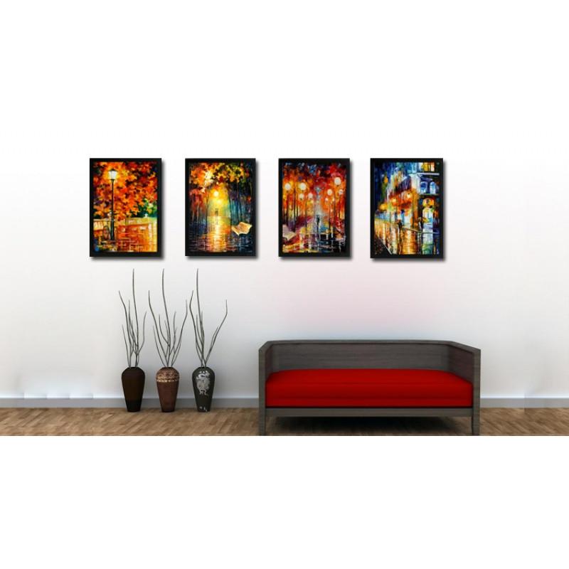 油画系列城市风景有框画 客厅书房餐厅酒吧咖啡实木品质装饰挂画