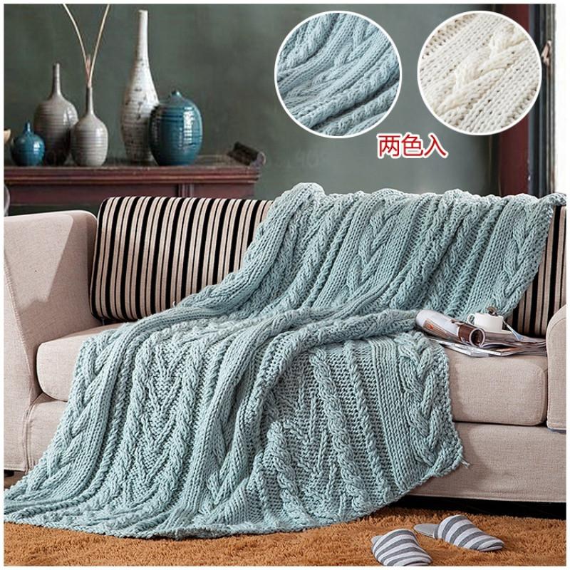 粗毛线棒针纯手工编织毯四季旅行沙发针织毯艺术装饰毯湖蓝象牙白