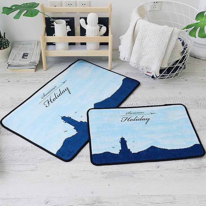 北欧风雪尼尔地垫卧室床边防滑地毯卫生间浴室长条脚垫子
