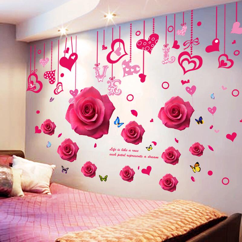 3d立体墙贴画墙纸自粘壁纸卧室温馨墙纸女孩房间床头墙上装饰墙画11