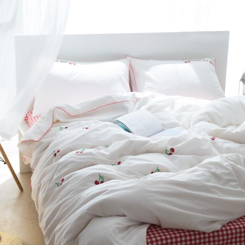 刺绣卡通纯棉水洗棉4件套 可爱简约床单被套四件套床上用品