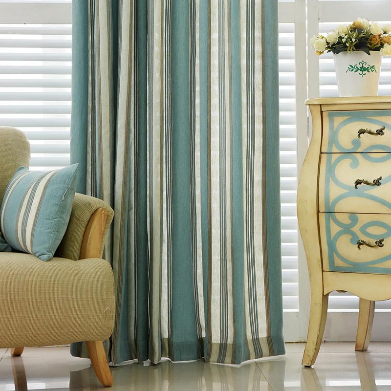 北欧风格竖条纹窗帘客厅卧室地中海蓝色拼色窗帘布简约现代
