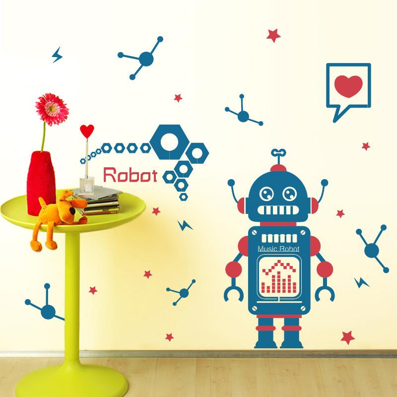 可移除墙贴纸自粘幼儿园儿童房间卡通可爱墙壁纸装饰品创意机器人