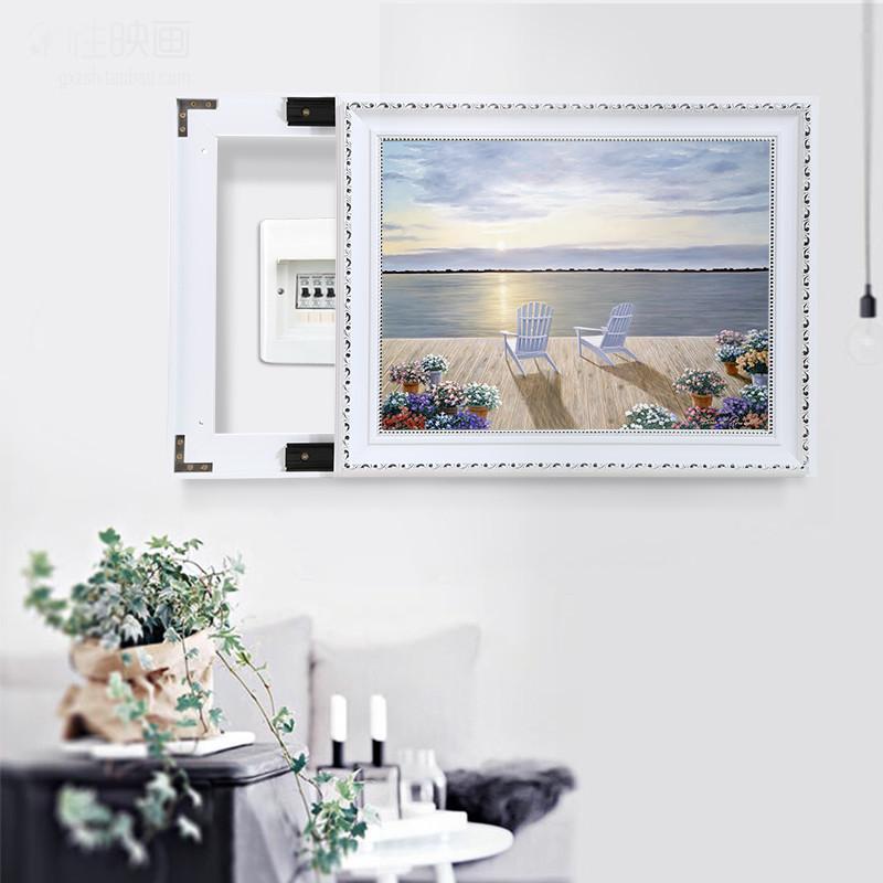 弱电箱变电箱强电箱电表箱装饰画简约现代可推拉遮挡壁画客厅挂画