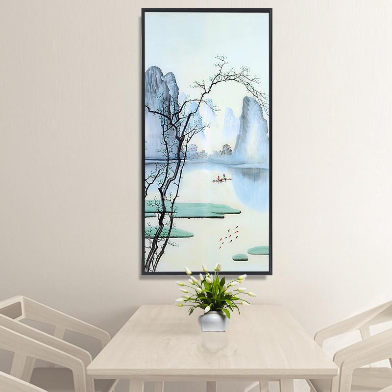 新中式玄关装饰画过道走廊挂画现代竖版单幅简约客厅卧室风景墙画