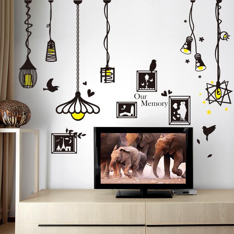 家居家饰墙贴简约吊灯贴卧室餐厅壁画背景墙面装饰品墙上贴画贴纸
