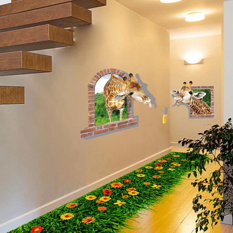 3d立体墙贴纸画室内墙面地面装饰品房间走廊地贴墙纸自粘防水创意