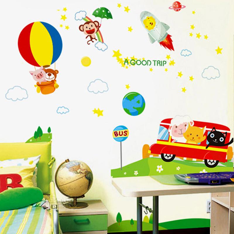 热气球飞船可移除墙贴纸贴画幼儿园教室布置儿童房间卡通汽车