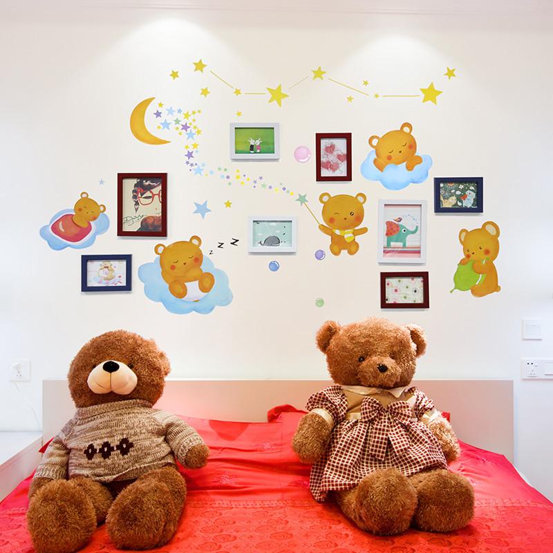卧室儿童房装饰照片墙相片墙卡通可爱小熊墙贴纸贴画组合相框挂墙