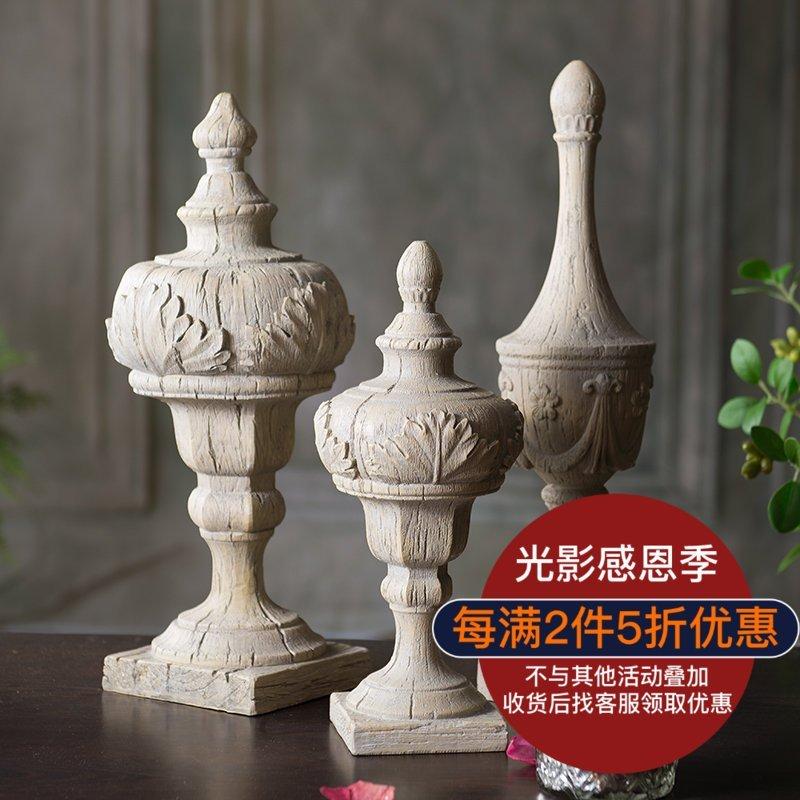 仿木雕柱头 装饰摆件 美式古典 经典雕花风化木桌面欧式