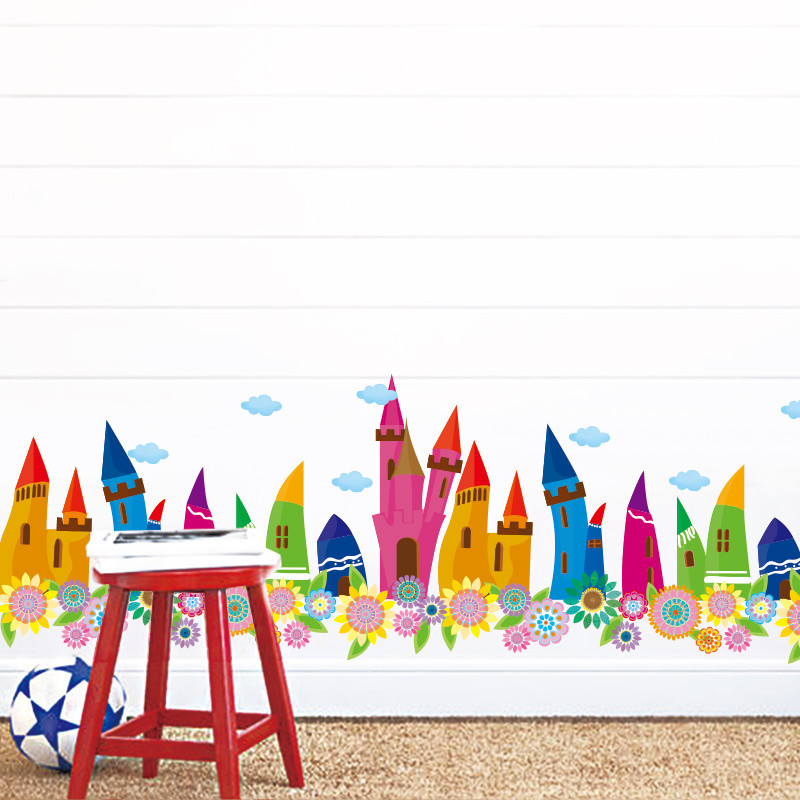 教室布置卡通墙贴纸儿童房间踢脚线幼儿园装饰贴画童话城堡小房子