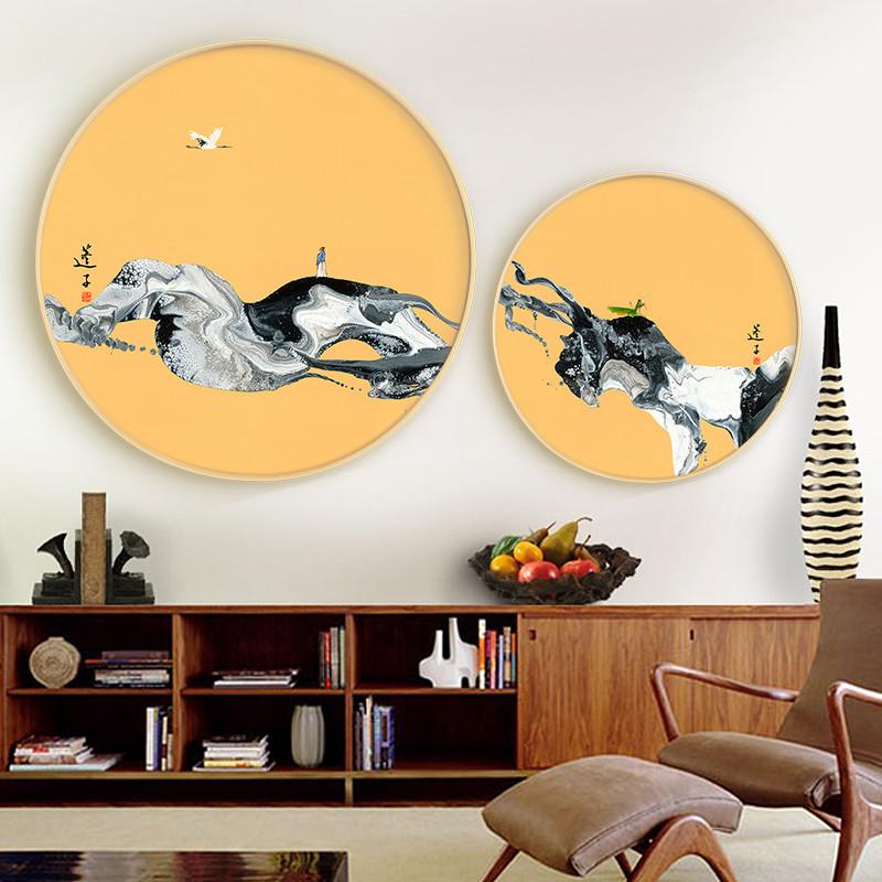 圆形装饰画 中式墙面装饰挂件简约卧室创意壁画挂画 客厅背景墙图片
