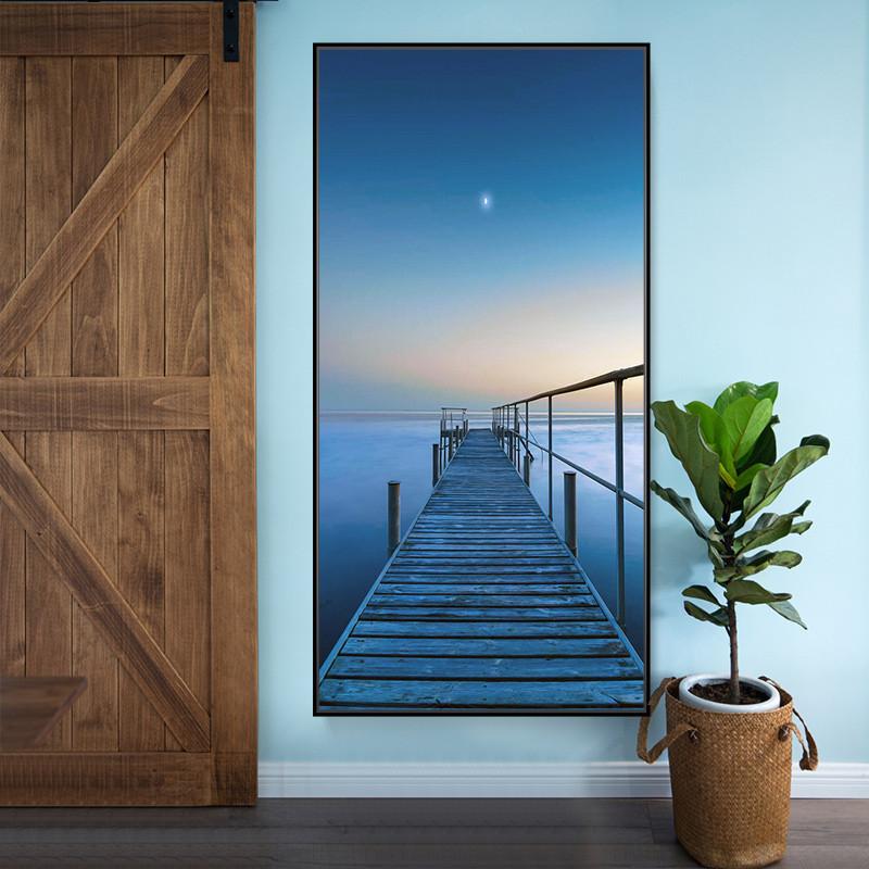 玄关装饰画竖版简约现代过道走廊墙面挂画风景墙画壁画招财风水