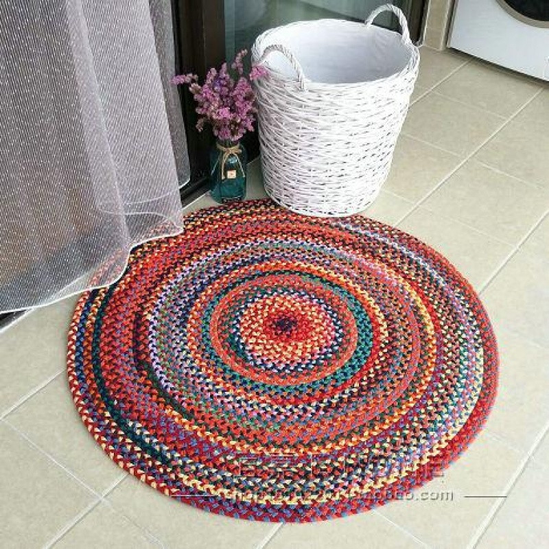 民族风圆形挂毯黄麻茶几垫手工编织家用卧室客厅地毯地垫