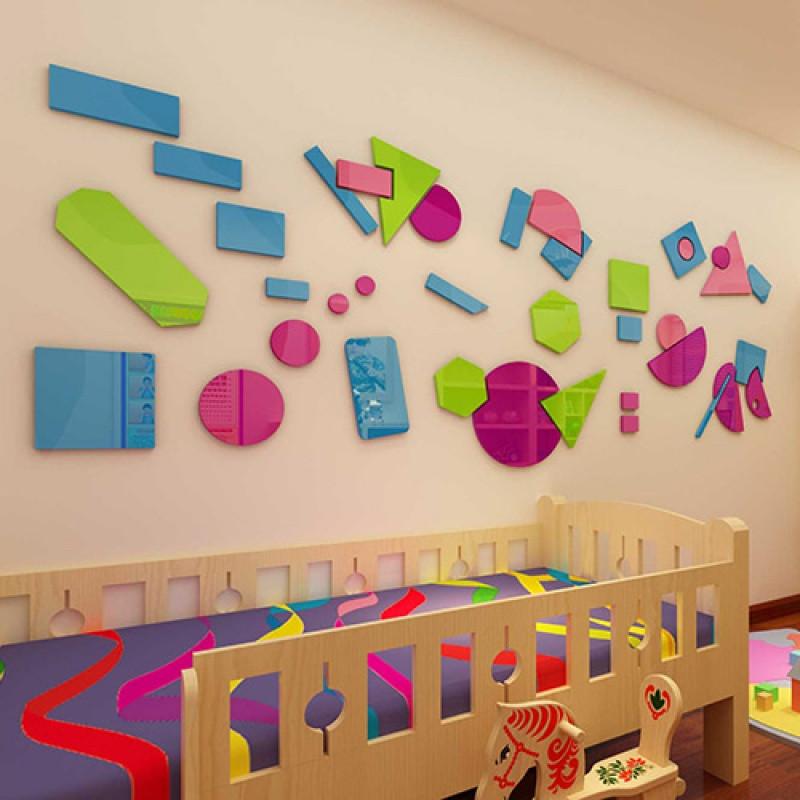 创意卡通七巧板儿童房幼儿园早教中心亚克力3d立体墙贴自粘装饰品