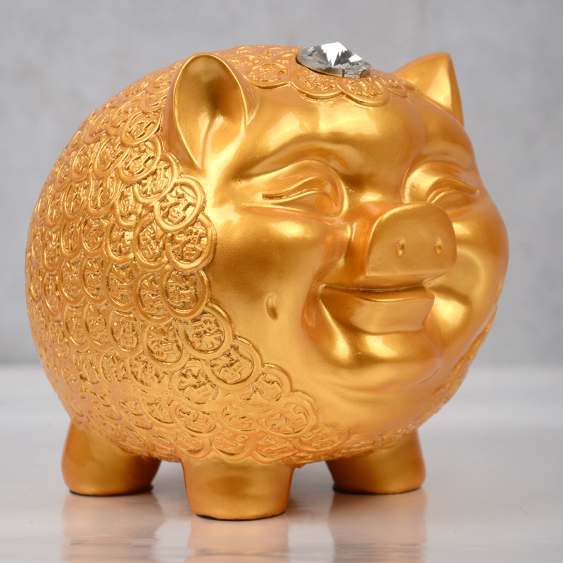 新款2018创意可爱招财猪存钱罐摆设儿童房装饰品摆件实用生日礼品猪