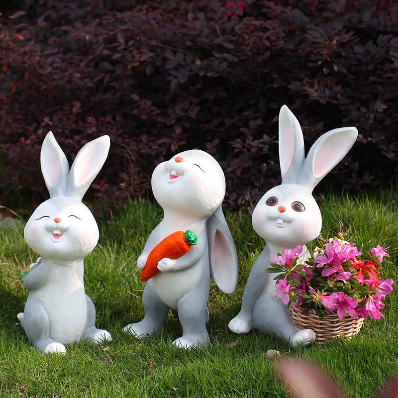 新款2018仿真动物小白兔子摆件景观树脂雕塑工艺品花园林庭院户外装饰