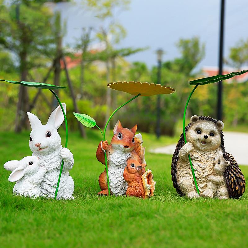 新款2018可爱仿真小动物摆件花园庭院阳台客厅田园创意家居饰品树脂