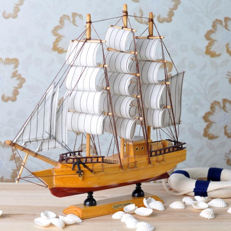 新款2018一帆风顺帆船摆件船模型地中海风格装饰品摆设仿真木船小礼物图片