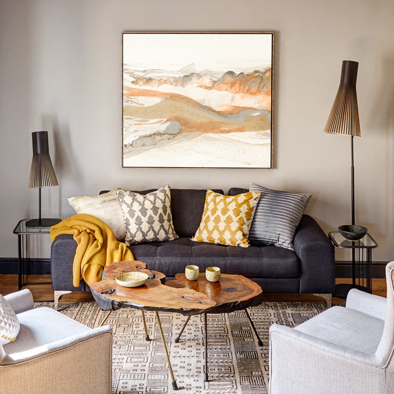 新款2018秀品轩新中式禅意客厅沙发后背景墙装饰画淡雅中国风水墨画挂