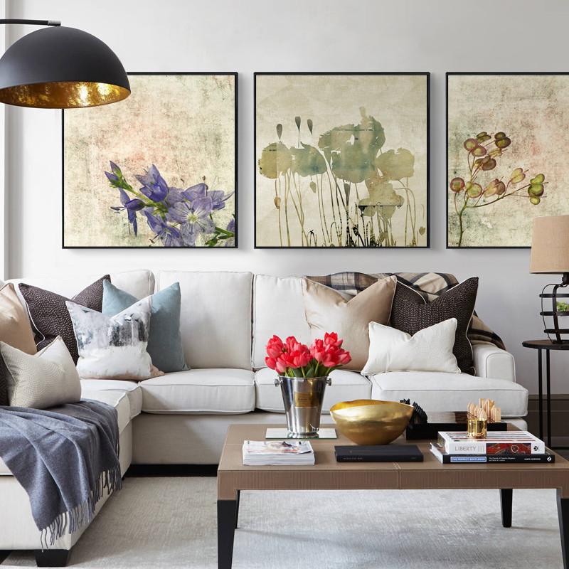 新款特价秀品轩北欧沙发背景墙装饰画客厅现代大气三联玄关走廊墙上