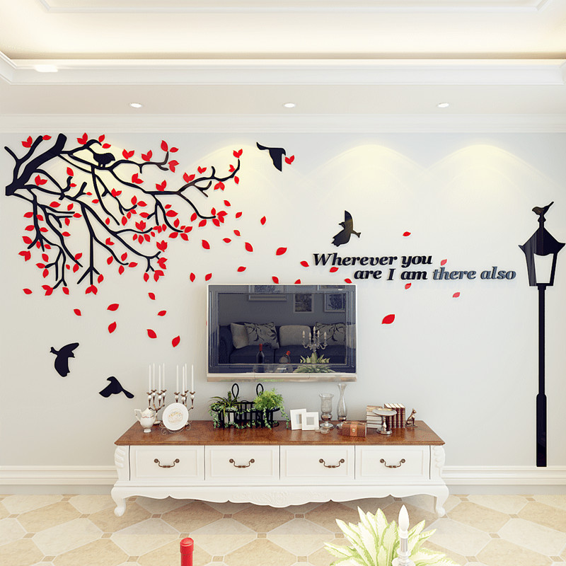 新款2018路灯的等候3d亚克力立体墙贴电视背景墙装饰贴画客厅餐厅婚房
