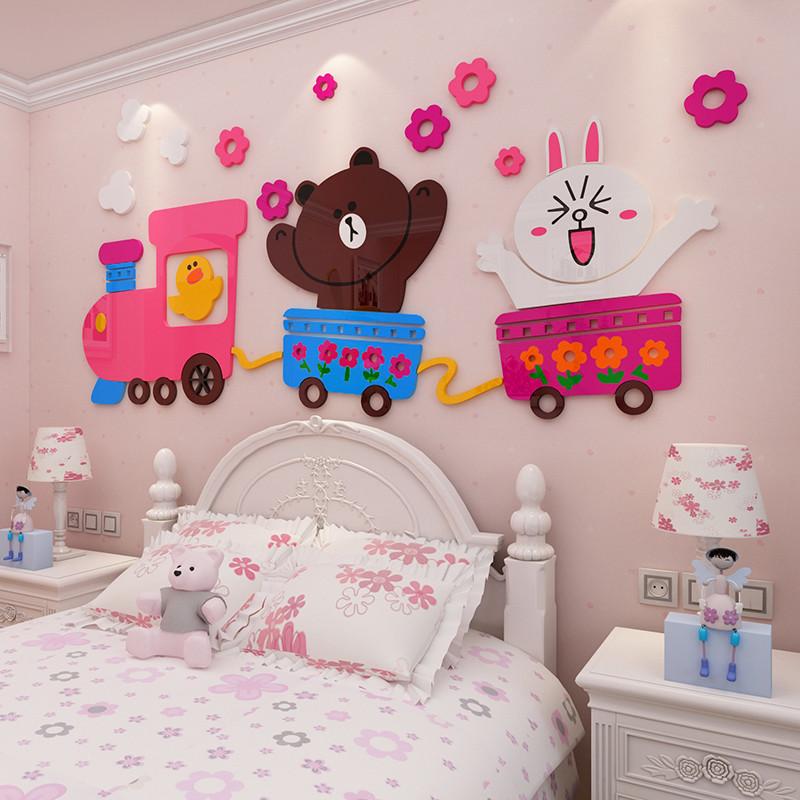新款2018布朗熊3d立体墙贴画卡通儿童房卧室床头墙贴纸幼儿园墙面装饰