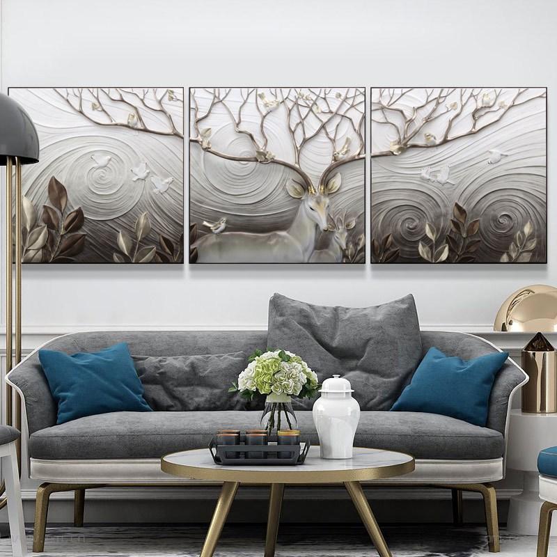 新款2018客厅装饰画沙发背景墙画3d立体浮雕画三联无框墙壁画现代挂画
