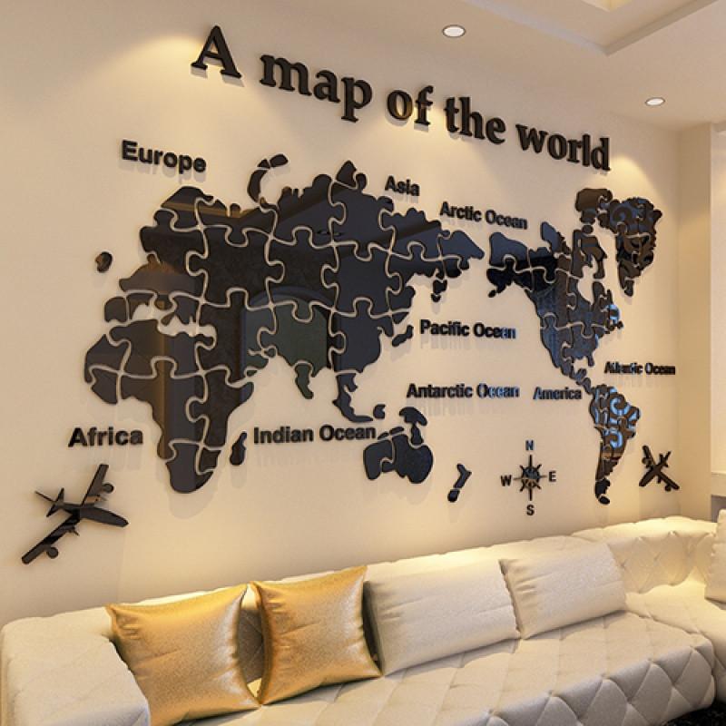 新款特价世界地图墙贴3d立体客厅沙发电视背景贴纸书房卧室墙壁装饰墙