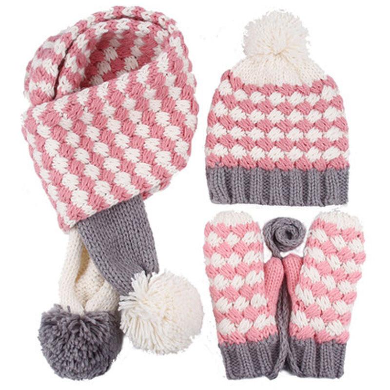 帽子围巾手套三件套女冬天韩版可爱加绒保暖骑车防风毛线帽子套装西瓜