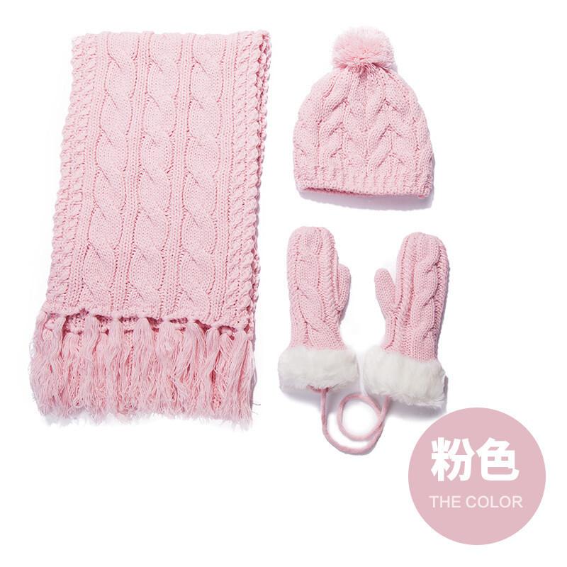 帽子围巾手套女冬天可爱三件套加绒保暖厚套装