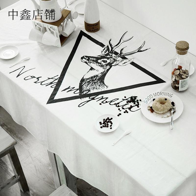简约装饰桌布 西餐长条桌布 文艺范黑白鹿头桌布