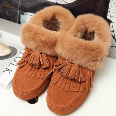 2018冬季新款兔毛雪地靴流蘇保暖毛毛豆豆鞋平底女鞋