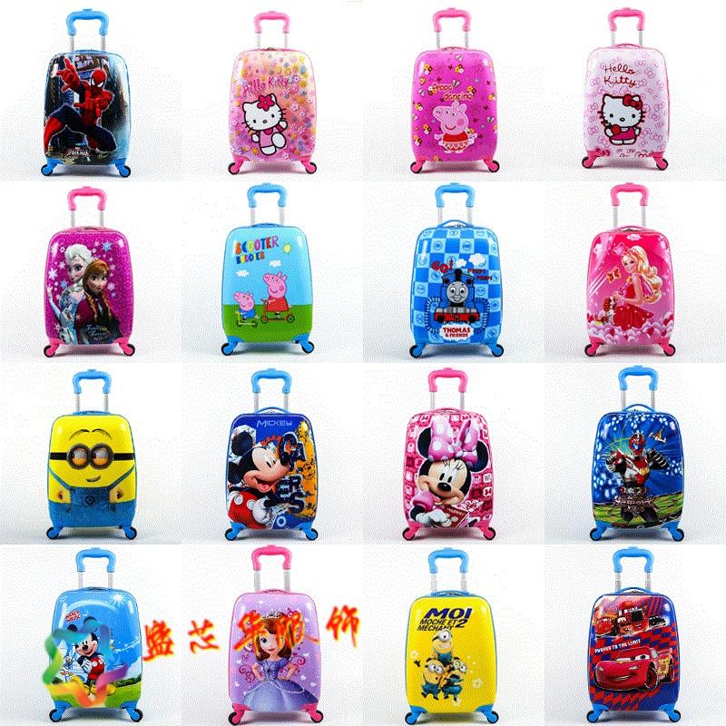 卡通尼拉杆旅行箱男女时尚小学生蛋壳行李箱18寸万向轮密码箱儿童