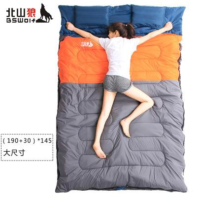 北山狼情侶雙人睡袋加寬加厚保暖戶外野營室內午休成人雙人棉睡袋