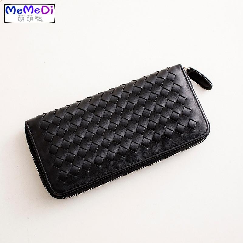 memedi2018新款欧美拉链女士钱夹零钱包编织钱包长款手机包手拿包